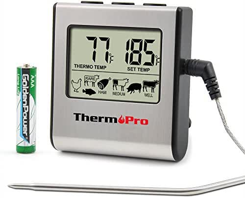 ThermoPro TP16 Large LCD Digital Cooking Kitchen Food Meat Thermometer for BBQ Oven Smoker Built-in Clock Timer with Stainless Steel Probe