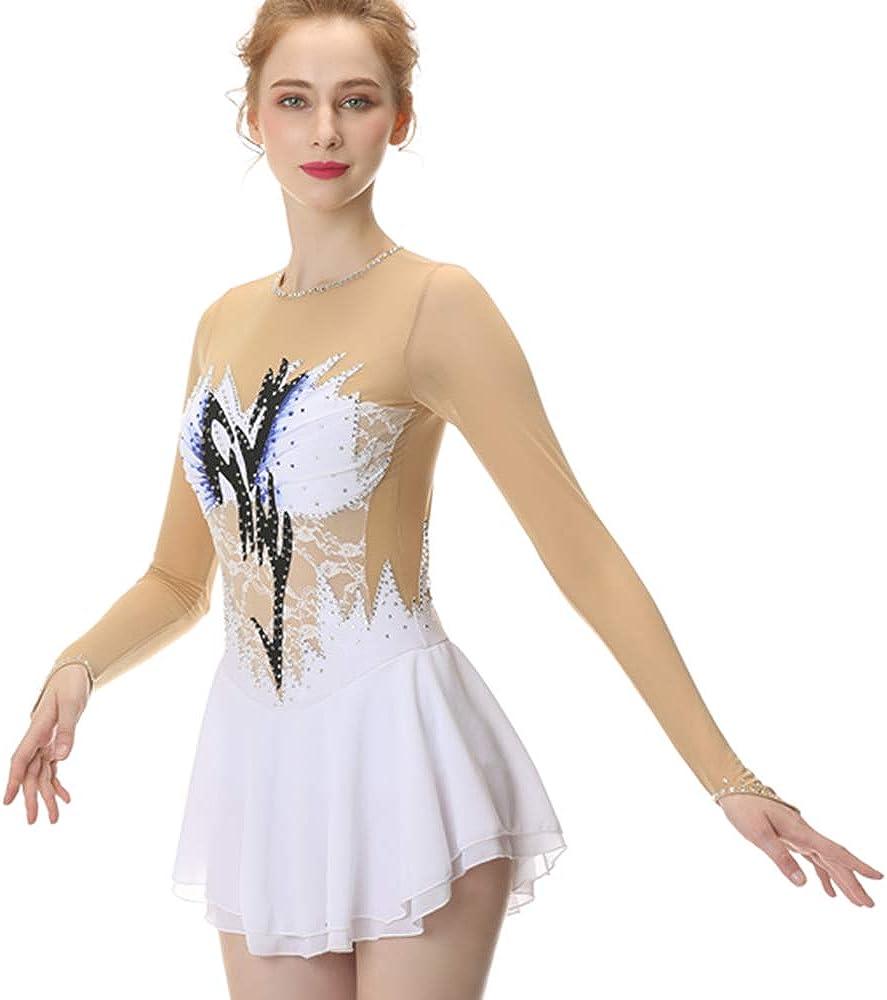 moily Big Girls Shiny Rhinestone Mesh Splice Back Figure Ice Skating Dress Ballet Tank Leotard Dancewear