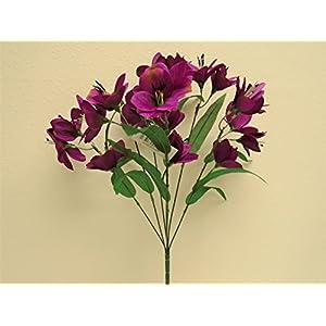 "Phoenix Silk PURPLE Alstroemeria Bush Artificial Silk Flowers 20"" Bouquet 10-5326PU 22"