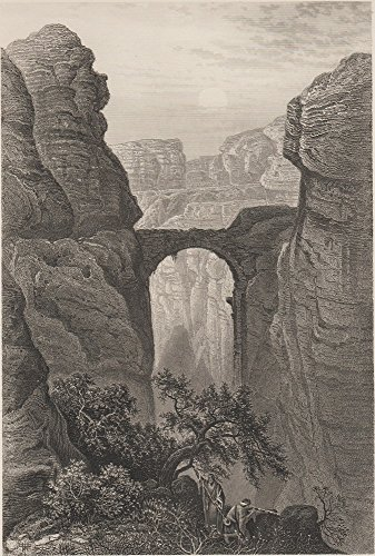 Antique Art Wood Block Print 1899 Entrance To The Valley OF Petra, J. Saddler Sculpt (Valley Entrance)