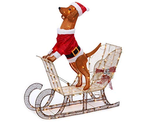 (Holiday Home Outdoor Christmas Lighted Light Up Santa Dog in Sleigh Sculpture Yard Decoration)