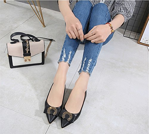 Primavera Bomba Básica y C Tacones de Zapatos Chunky PU Oficina Talón Confort para Puntiaguda Carrera Zapatos Mujer Formales Puntera Verano el Vestido 0tqHYHw