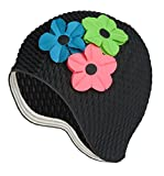 Latex Swim Cap - Women Stylish Swimming Cap Great for Ladies, Perfect to Keep Hair Dry - Suitable for Long Hair - Bubble Crepe Black with Pink, Green, Royal Flowers