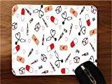 Cute Medical Stethoscope and Bandaids Desktop Office Silicone Mouse Pad by Sorem Designs
