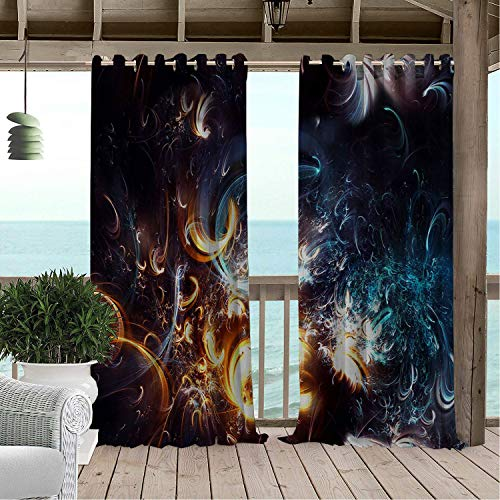 Patio Waterproof Curtain High Tech Jet Light pergola Grommet Party Curtains 120 by 72 inch