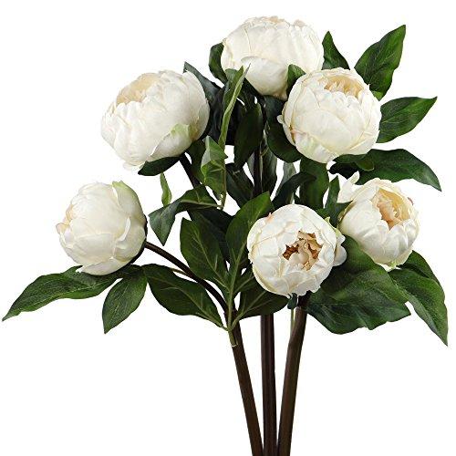 Rinlong 3pcs Vintage Artificial Peony Picks Silk Flowers Sprays White for DIY Carft Floral Arrangement Home Decor Wedding Bouquet (Prima Flowers Silk)