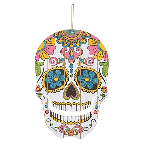 Sugar Skull Homemade Costume (Halloween Fall Day of the Dead Glitter Sugar Skull Hanging Decor - Perfect for Halloween)