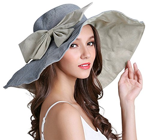 RIONA Women's UPF 50+ Foldable Floppy Reversible Wide Brim Sun Beach Hat with Bowknot