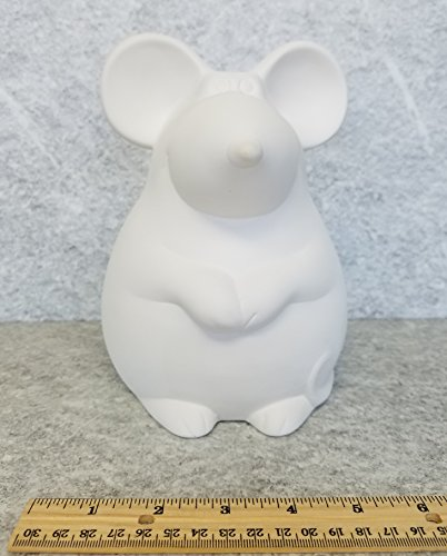 Bisque - Chubby Mouse Bank (Unpainted, ready for glaze)