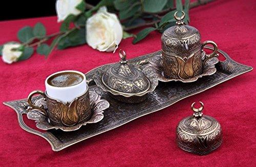11 Pieces Set of 2 Turkish Greek Coffee Espresso Cup Saucer Set for Serving - Vintage Tulip Design Ottoman Arabic Gift Set, Aged Gold