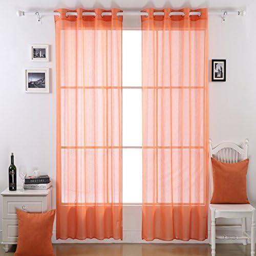 Deconovo Linen Drapes Grommet Window Sheer Curtains for French Doors 2 Panels, 52×95, Orange