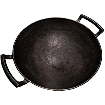 Ocitor 14 inch Cast Iron Wok, Black