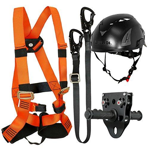 Fusion Climb Tactical Edition Kids Commercial Zip Line Kit Harness/Lanyard/Trolley/Helmet Bundle FTK-K-HLTH-11