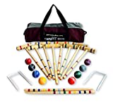 8-Player Deluxe Amish-Crafted Croquet Game Set with Carry Bag (Four 33'' Mallets/Four 29'' Mallets)