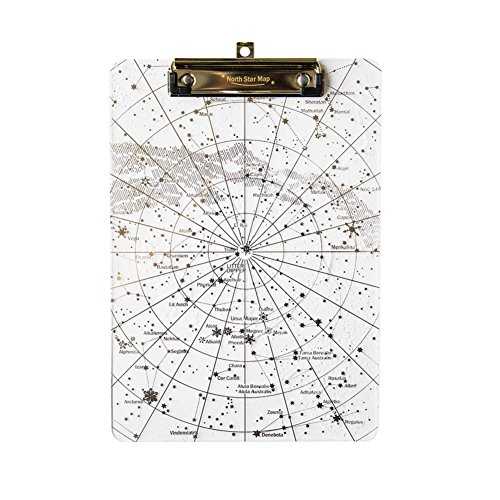 Transparent Arcylic Rectangle Documents Clipboard Painted with Gold Starry Sky for Letter Size or Smaller Files from Hoocozi, 1Pce