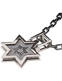 Gold and Black Diamonds Star Pendant For Men Necklace Black David Shield Kabbalah Judaica Steampunk Chain
