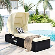 Cadeira de espreguiçadeira ajustável para ambientes externos, cadeira de vime de ratã para pátio, praia, pisci