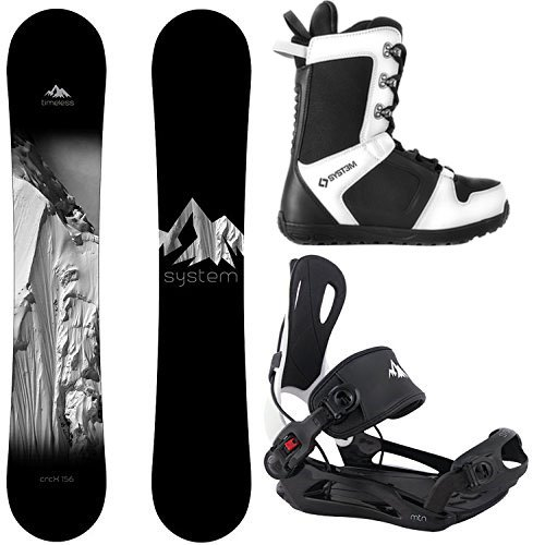 System Timeless Snowboard 2021 MTN Flow Style Rear Entry Step in Binding Men's Complete Snowboard Package