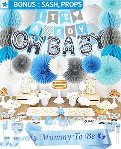 PGNART Baby Shower Decorations for Boy Kit 58 PIECES | It's A BOY Banner | OH BABY Balloon | Mom To Be Sash | Photo Props | Garland Bunting Banner | Paper Lanterns | Honeycomb Balls | Tissue Paper Fan]()