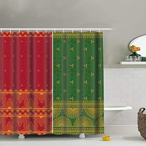 best bags Indian Sari Borders Detailed Easily Editable Beauty Fashion Polyester Fabric Shower Curtain Bathroom Curtain Hook 72X72 Inch