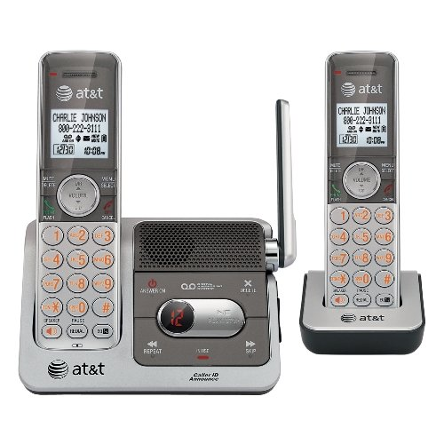 AT&T CL82201 DECT 6.0 Cordless Phone, Silver/Grey, 2 Handsets