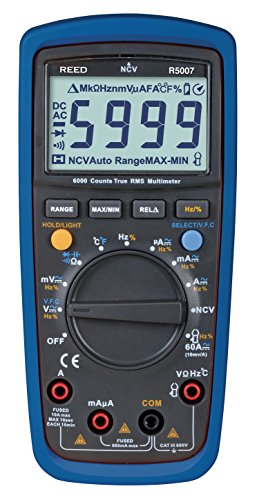 REED Instruments R5007 True RMS 600V AC/DC Multimeter with Non-Contact Voltage (Multimeter Non Contact Voltage Detector)