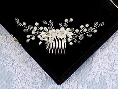 CanB Wedding Pearl Flower Hair Comb Bridal Crystal Headpieces Women