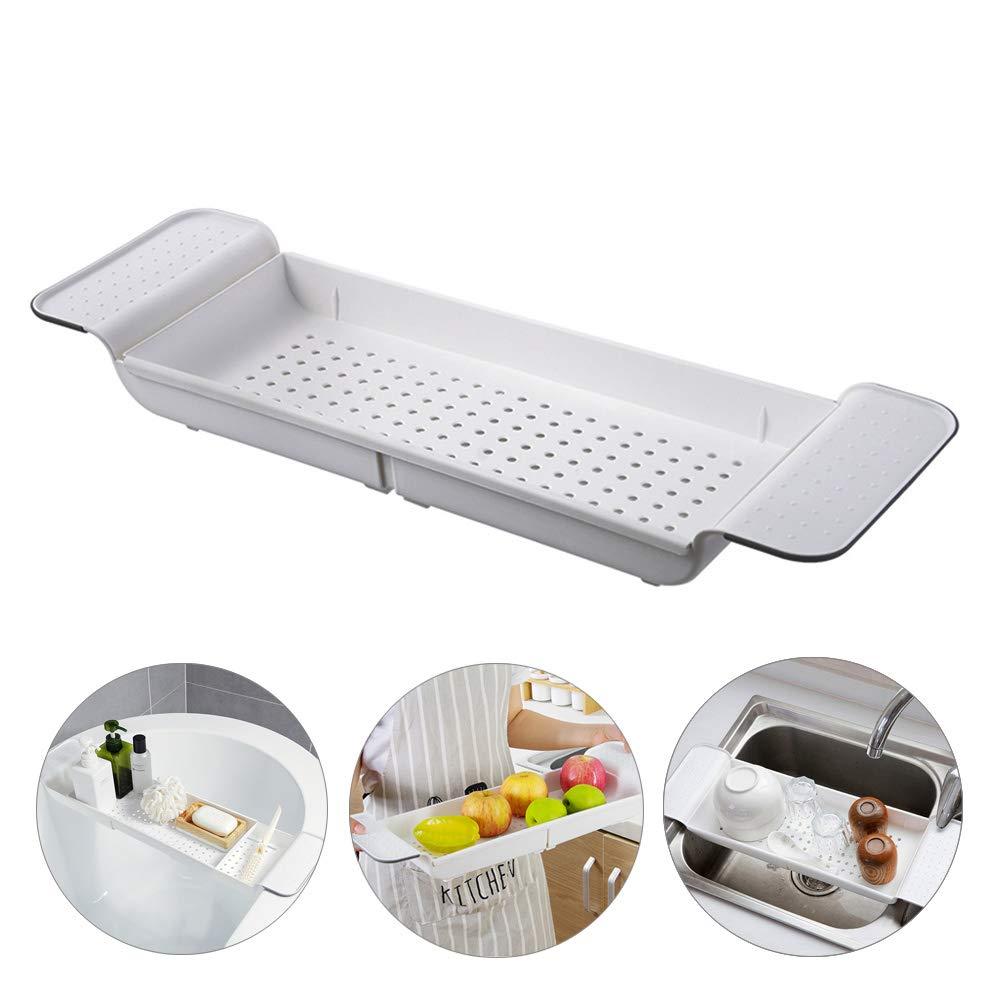 YEAKOO Bathtub Shelf Caddy Tray, Expandable Bath Table Shelf