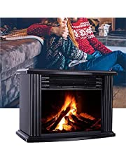 Purism Wall-Mounted Electric Fireplace, Electric Stove for Indoor Space Heater with Remote Control, Independent Mini Fireplace with Simulated Wood Burner Flame Effect