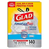 Glad ForceFlexPlus Tall Kitchen Drawstring Trash Bags, Unscented, 13 Gallon (140 Count)