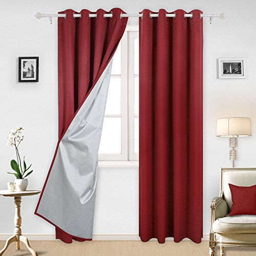 Deconovo Red Thermal Insulated Blackout Curtains with Silver Coating Blackout Panels for Kitchen 52W x 95L Inch Red 2 Panels