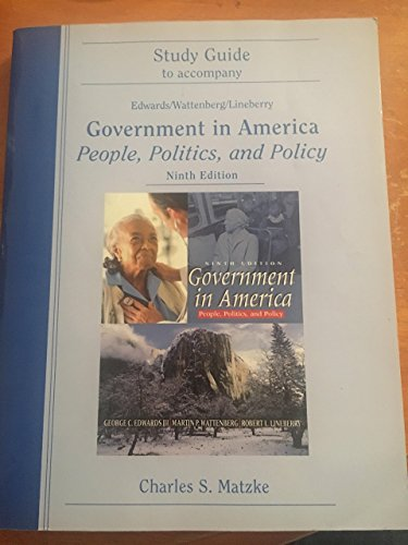 Government in America (Study Guide to Accompany)