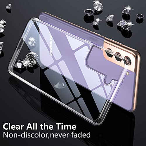 SPIDERCASE Designed for Samsung Galaxy S21 Case, [NOT Yellowing] Soft TPU Hard PC Cover, Flexible Bumper Slim Crystal Clear Phone Case for Samsung Galaxy S21 5G 6.2