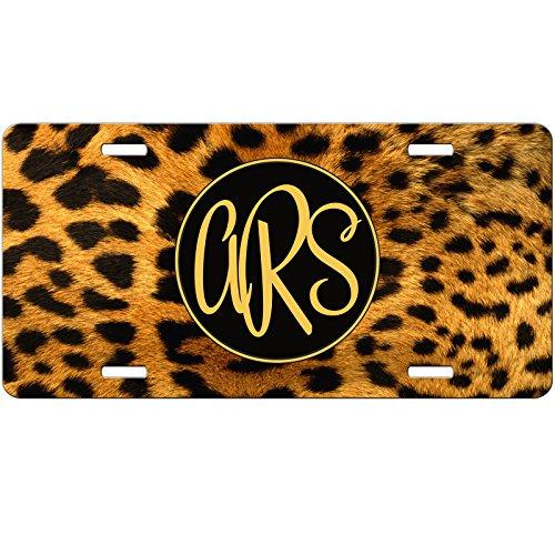 Personalized Car Tag - Auto Tag - Cheetah Leopard Print Animal Monogrammed (Cheetah Print License Plate)