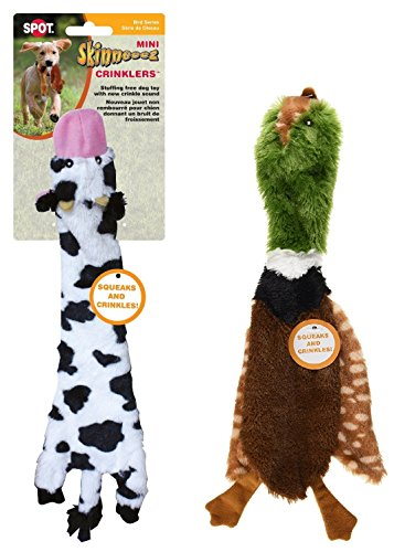 Cow Plush Dog Toy - Ethical Pets Skinneeez Crinklers 14-Inch Cow and 14-Inch Bird Dog Toys (Bundle)