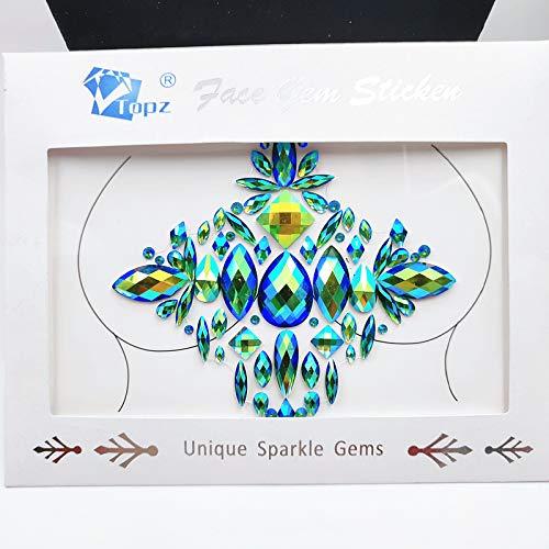 Body Jewels Nipple Chest gems Breast Boobs Jewels Rhinestone Music Art Project Stickers Tattoo Crysta Body gemsl Sticker for Halloween (Green ab/J32) ()
