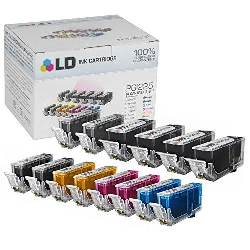 LD © Canon PGI225 & CLI226 Compatible Set of 14 Ink Cartridges: 4 Pigment Black PGI225, 2 each of CLI226 - Set Compatible Ink Black