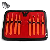 DDP SET OF 8 PIECES ORANGE PRECISION NON-MAGNETIC ANTI-STATIC ESD TWEEZERS STAINLESS STEEL FORCEPS FOR ELECTRONICS, JEWELRY-MAKING, LABORATORY WORK AND MORE