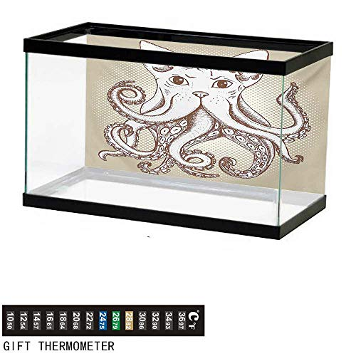 (Aquarium Background,Octopus,Octopus with Cat Head Illustration Vintage Style Cartoon Cat with Tentacles Print,Grey White Fish Tank Backdrop 36