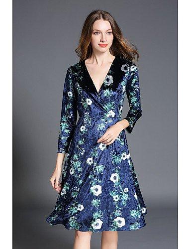 JIALELE Larga Femenina De Floral Mujer Inelástica Vestido Vestimenta Aumento Medio Cuello La Con Fiesta Azul real Fiesta Alto De Manga V q7qn0xr