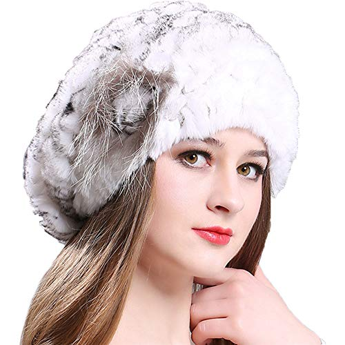 Guiyan Lady Crochet Berets Hat Rex Rabbit Fur Knit Hats Women Girls Winter Fall Warm Soft Cap Headwear ()