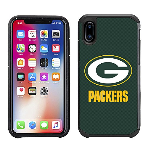 Prime Brands Group Cell Phone Case for Apple iPhone X - NFL Licensed Green Bay Packers Textured Solid Color]()
