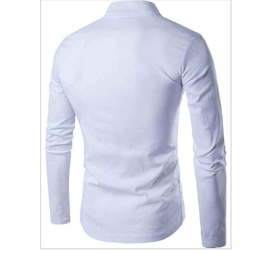 Mfasica Mens Linen Cotton Casual Long Sleeve Solid Basic Shirt
