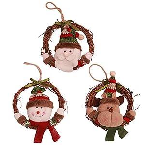 BESTOYARD 9Pcs Christmas Door Wreath Christmas Snowman Santa Claus Reindeer Figures Christmas Tree Hanging Ornaments S (3pcs for Each Pattern) 98