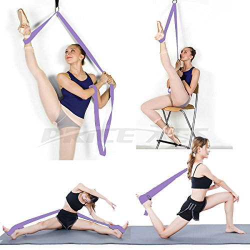 Adjustable Leg Stretcher Lengthen Ballet Stretch Band - Easy Install on Door Flexibility Stretching Leg Strap Great Cheer Dance Gymnastics Trainer stretching equipment taekwondo Training (purple-2)