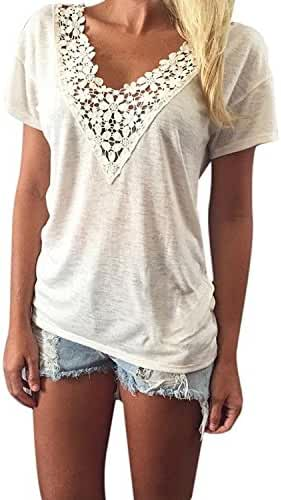 Kwok Women's Summer Vest Top Short Sleeve Blouse Casual Tank Tops T-Shirt Lace