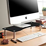 VonHaus Monitor Stand for Desks | Height Adjustable | Screen Riser for Computers, Laptops & TVs | Black Curved Glass With Aluminium Legs | Designed for Home or Office | 56 x 24cm