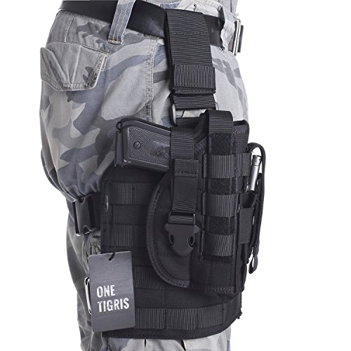 OneTigris Tactical Airsoft Molle Drop Leg Platform & Pistol Holster with Mag Pouch for Right Handed Shooters 1911 45 92 96 Glock - Molle Drop Leg Holster Panel