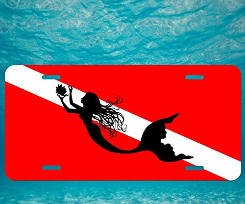 (Forever Signs Of Scottsdale Scuba Dive Flag Mermaid Silhouette Metal Aluminum Vanity License Plate Tag New)