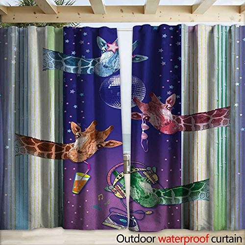 Snap Gang (warmfamily Animal Porch Curtains Giraffes in a Disco Party Cool Gang with Glasses Music DJ Drinks and Stars Artwork W108 x L108 Multicolor)